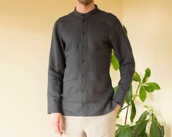 Dark grey color linen classic handmade men's shirt