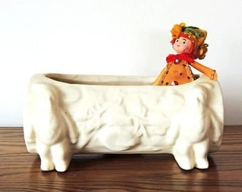 Window Box Planter Elves Holding a Log Vintage 1940's Dish Garden