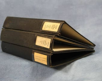 """Vintage Lot of Small 10"""" Three Ring Binders, Heavy Duty with Metal Labels"""