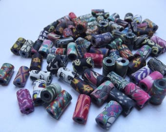 """20 tube beads from 7mm to 11mm x 20 """"mixed media color"""" # 1 to 5"""