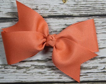 NEW Solid Coral Grosgrain Ribbon Basic Boutique Hair Bow on Lined Alligator Clip