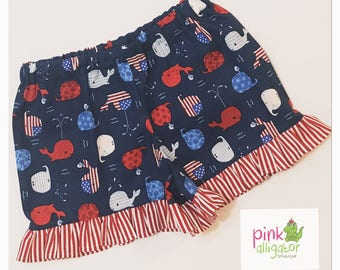 Patriotic Whale Girls Ruffle Shorts - July 4th