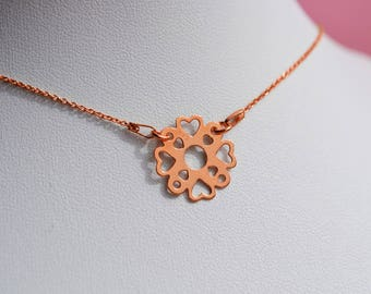 """Necklace silver plated rose gold 24 K """"Lacy heart"""""""