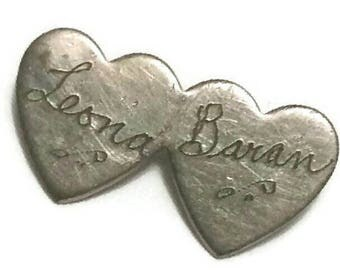 Antique Sweetheart Lapel Pin Tiny Double Heart Silver Brooch 30s 1940s Vintage Lovers Broach Romantic Valentines Jewelry Gift Leona & Baran
