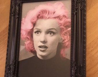 Marilyn Monroe pink hair print in black frame 7x5""