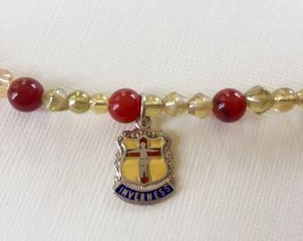 Vintage Inverness Travel Charm Beaded Bracelet