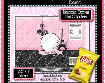 Printable French Flair Mini Chip Bag  -  Instant Download (PFF101) Digital Party Graphics - PERSONAL USE Only
