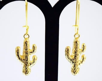 Lovely Gold Plated Cactus Design Drop Earrings