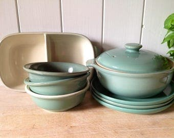 Vintage Denby Manor Green - Oven to Table collection- Bowls - Casserole- Serving Dish - Plates - All in Excellent Condition