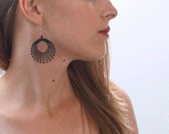 Circle L | Bobbin Lace Earrings | Minimalist Geometric Lace Earrings | Handmade Idrija Bobbin Lace Jewelry