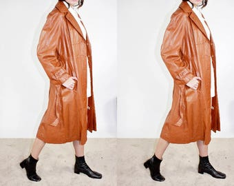 70s Leather Trench Coat / Classic Americana Brown Leather Jacket / L Large