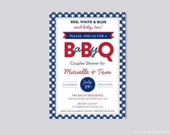 BabyQ invitation, bbq baby shower invite, summer fourth of July independence day, backyard couples shower, red white blue and baby too