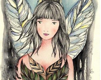 fairy No1, water color print