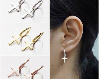 925 Sterling Silver Earrings, Cross Earrings, Gold Plated Earrings, Rose Gold Plated, Hoop Earrings (Code : EY41)