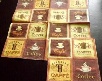 2 coffee/coffee paper napkins