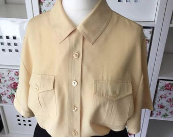 Vintage ST MICHAEL Muted Yellow Blouse UK Size 14 (42) 1990s 90s Mod Grunge