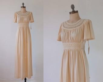 20% OFF SALE! Aphrodite maxi dress | vintage 1970s dress | grecian 70s maxi dress | crochet neckline dress | bohemian wedding dress