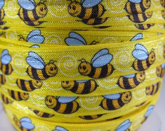 "3 yards of FOE 5/8 inch ""Bees"" fold-over elastic ribbon"