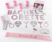 "Bachelorette Party Kit ""Let's Party"" Pink and Silver, Glitter Diamonds (74 Piece Kit)"