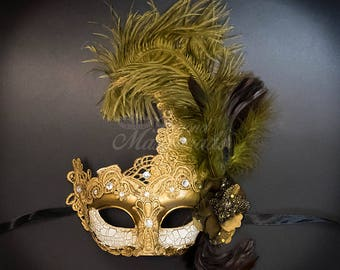 Feather Masquerade Mask, Masquerade Mask, Ivory Gold Masquerade Mask with Feathers, Mardi Gras Mask, Masquerade Ball Mask [Golden Bronze]