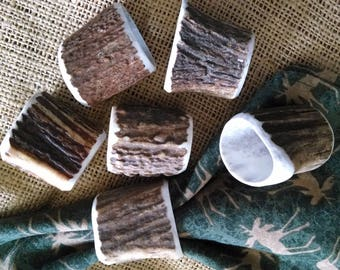 "Antler Napkin Rings, 6 genuine hollowed Elk antler, natural brown and cream, medium size approx. 1-1/2"" across, fits thin cloth napkins"