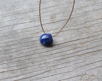 LAPIS LAZULI floating stone necklace on a fine silk cord, minimalist gemstone necklace, September birthstone necklace