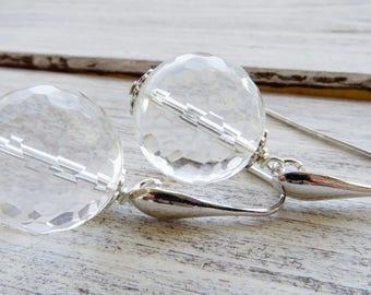 Rock crystal earrings, 925 sterling silver earrings, clear earrings, bridesmaid earrings, dangle earrings, gemstone jewelry, wedding jewelry