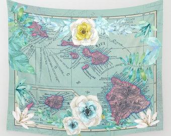 Hawaii Floral Tapestry Wall hanging - vintage map, aqua and pink, beautiful map, travel decor, wall decor den, bedroom, library, dorm