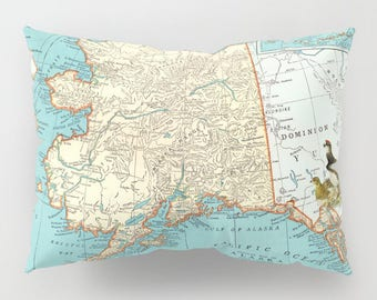 Alaska Map Pillow Case in aqua,  geography, unique travel, wander, Ptarmigan, forget-me-not  bedding