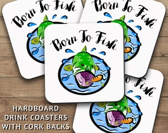 Drink Coasters Set, Born To Fish 001, Fishing Decor, Man Cave Decor, Man Cave Coasters, Fishing Gifts, Housewarming Gift, Home Decor