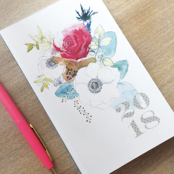 2018 Diary 2018, Watercolor Flowers by Bambouchic.