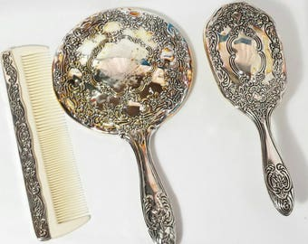 Vintage | Silver plated | Vanity Mirror Brush Comb | Dresser Set | Centurion Collection | Ornate | Hand Mirror