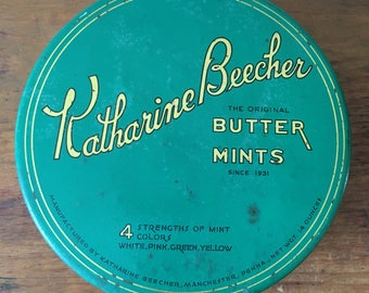 Vintage Katherine Beecher Mints Tin with spools of thread