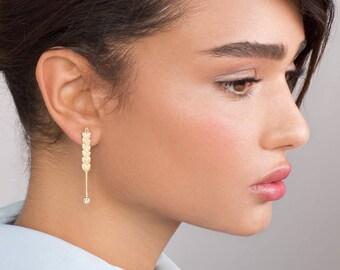 Long Gold Stud Earrings - wedding jewelry , wheat stud earrings , wheat earrings , long gold earrings , women's earrings , pearl earrings