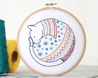 Cat Embroidery Kit - Contemporary Embroidery - Modern Embroidery Kit - Hand Embroidery Kit - Craft Kit - Embroidery Pattern