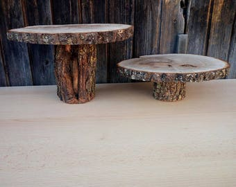 "Rustic Wood Cake Stand  6"" , Bridal Stand, Wedding Decoration, Home Decoration, Rustic Wedding Decoration 6 Inch"