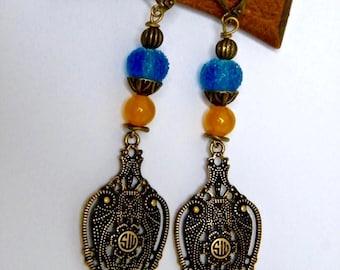 Dangling earrings, brass, glass, blue, turquoise, idea Valentine's day