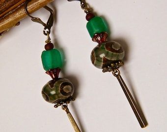 Rustic earrings, agate, Pearl glass, pendant and brass washers