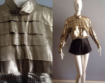 Vintage 80s Metallic Gold Billow Sleeve Blouse ~ Avant Garde Pleated Front LAME Shirt ~ Modern Party Top