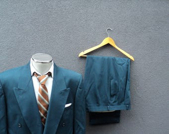 Vintage Two Piece Double Breasted Suit Size 44 Large Lrg / Mens 2 Piece Double-Breasted Teal Blue Suit / Vintage Suit / Made in Canada