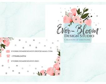 Hand Drawn Business card design cake business card bird business card flower business card floral business card bird business card