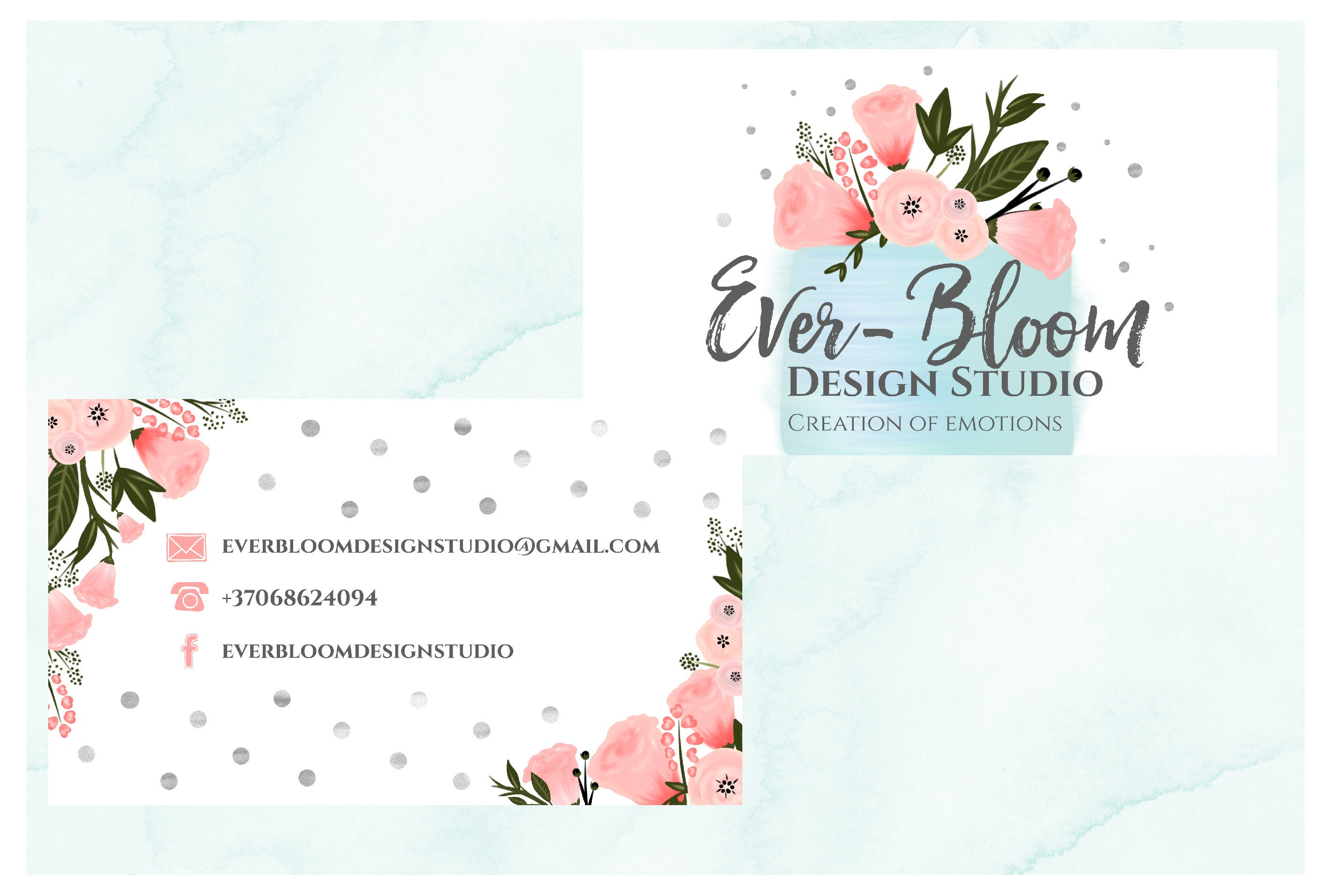 Hand Drawn Business card design cake business card bird business