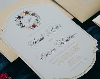 Die Cut Metallic Gold Ink Floral Flowers Wedding Invitation in Coral, Blush Pink & Burgundy — Envelope Liner, RSVP and Address Printing