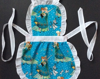 Handmade Kids Aprons, FROZEN Inspired, toddler apron, gifts, aprons for kids, birthday party, little girl frozen clothes clothing