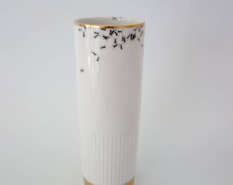 Chitins Gloss - vase - vintage porcelain handpainted with ants