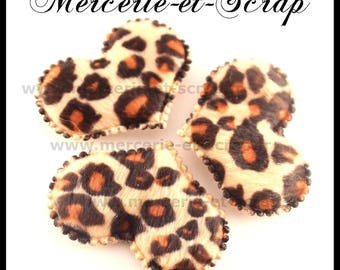 LOT 3 hearts embellishment leopard faux fur 32 * 45mm