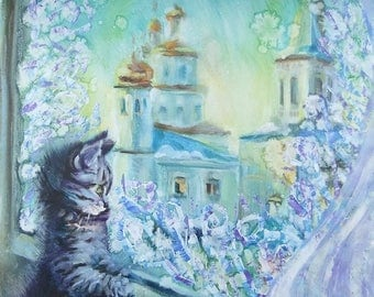 Picture Art Original Oil Landscape Painting-Kitten and Monastery in the Morning