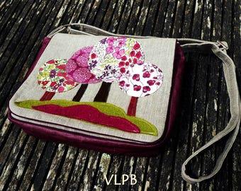 Shoulder bag, satchel forest natural linen and liberty