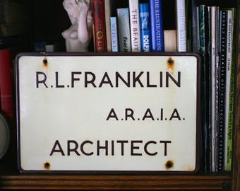 Enamel Architect Office Sign Man Cave Interior Design Industrial Decor Sign Collector Double-Sided