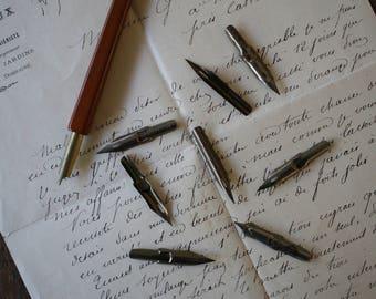 Set Assorted Nibs Steel Dip Pen Nib for Ink Calligraphy Mitchells Post Office Pen, Ford, MacNiven and Cameron Aluminium